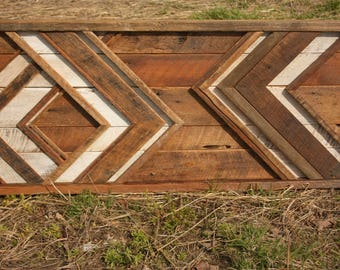 SALE - Large Reclaimed wood wall art - Chevron - Behind bed wall art - Barn Wood