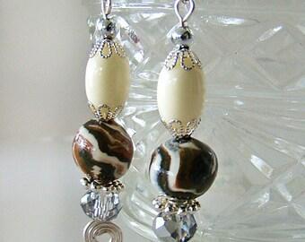 Beaded Earrings, Dangle Earrings, Silver Earrings, Clay Jewelry, Handmade Earrings, Clay Earrings, Pierced Earrings, Bead Earrings, Earrings