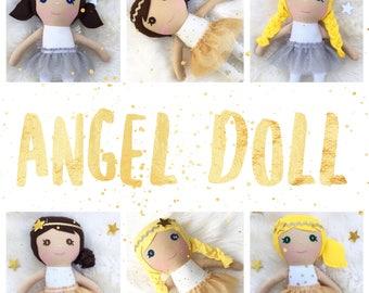 Handmade Angel Rag Doll, Angel Rag Doll, Girl Rag Doll, Rag Doll, Gift For Girl, Personalized Rag Doll, Softie Rag Doll, heirloom rag doll