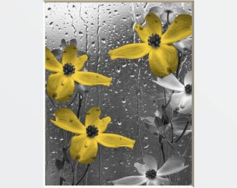 Bathroom/Powder Room Yellow Gray Wall Decor, Yellow Flowers Raindrops, Home Decor Matted Picture