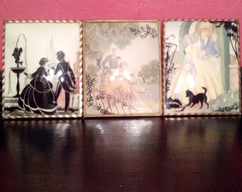 1940's Benton Glass Silhouette Reverse Painting On Glass Set Of Three