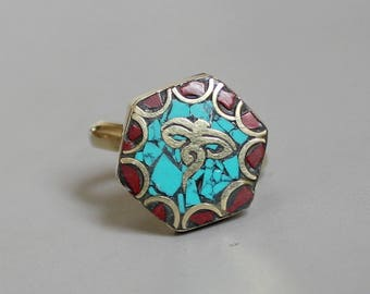 Tibetan Brass Rings With Coral Turquoise Inlay