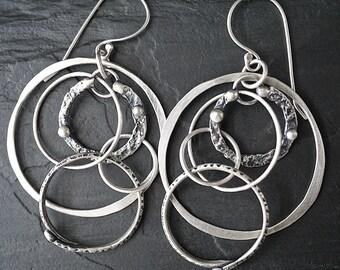 Large Multi Circle Drop Hoop Earrings , Reversible Textured Sterling Silver , Rustic Tribal Jewelry