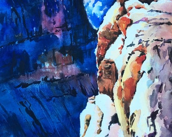 Grand Canyon mountains American West original watercolor painting