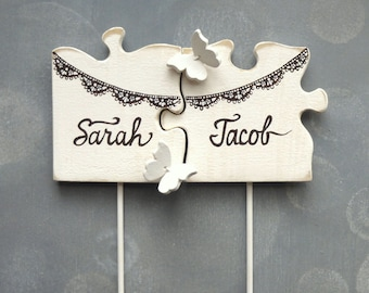 Wedding Cake Topper Banner Cake Topper, Black White Cake Topper Personalized