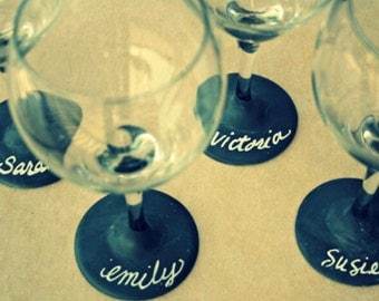Chalkboard Wine Glasses, Perfect for Housewarming, Chalkboard Paint, Chalk Paint Wine Glasses, Dinner Party, Handmade Glasses, Holiday Party
