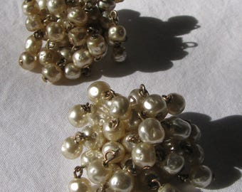 "Full and Thick Pearl Fringe Cluster Earrings, 1 & 5/8"", Vintage Clip Backs"
