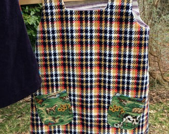 Plaid horsey cow cowboy pockets toddler girls tunic dress Jumper 5