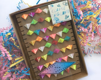 Paper Gem Garland Multicolored Rainbow Iridescent