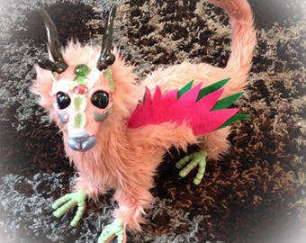 reserved for rlro2570 Posable rose fairy dragon, plush creature, stuffed dragon