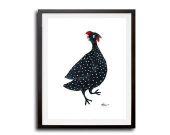 Guinea fowl print, Tribal Art Print