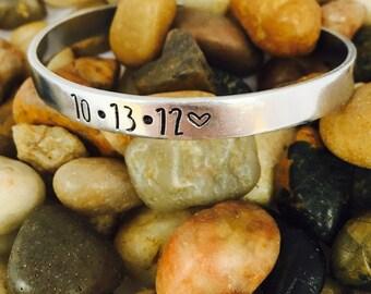 Anniversary Date Hand Stamped Bracelet