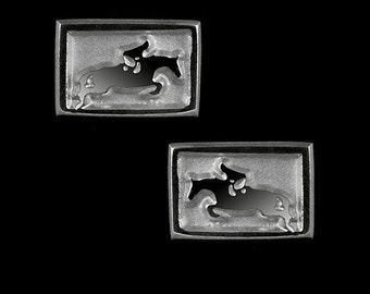 Horse Jumper Relief Earrings, Hunter Jumper Earrings, Show Jumping Earrings, Horse Rider Earrings, Equestrian Earrings, Horse Jewelry
