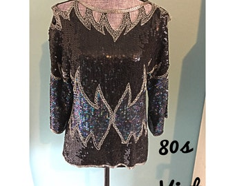 Vintage 80s Silk Top Beaded Sequin Formal Ladies Medium Party Prom Wedding Night Out