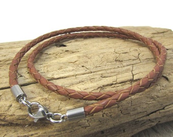 Light Brown Leather Braided Necklace, 3mm Saddle Tan Braided Bolo Leather Necklace, Custom Lenght Braided Bolo Necklace, Item 1219n