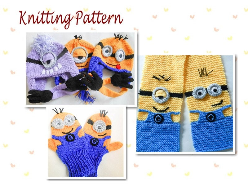 Free Knitting Pattern For Minion Gloves : Knitting Pattern Minion Hat Mittens and Scarf Pattern Bundle