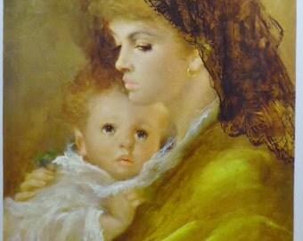 "Vintage Armando Gentilini ""Mother Love"" 14"" x 10"" Contemporary French Lithograph Print"
