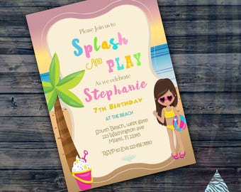 Beach Summer Party Invitation - Pool party invitation- summer fun - tropical party - lake party invitation - splash pad - summer vacation