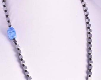 Hematite & Scarab necklace