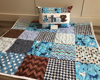 Puppy dog quilt and pillow set, brown and blue