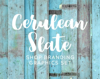 Rustic Turquoise Wood Shop Branding Banners, Avatar Icons, Business Card, Logo Label + More - 13 Premade Graphics Files - CERULEAN SLATE