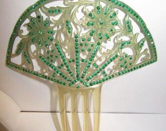 Gorgeous Celluloid and Rhinestone Hair Comb Art Deco Carved Flowers Vintage Wedding Peinetta Hair Decoration