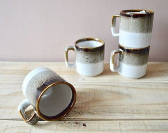 White and Brown Drip Glaze Mugs, Set of Four Vintage Coffee Cups