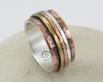 Rose Gold Ring -Handmade - Hammered -  Personalized - Couples Ring - Wedding Ring - Engagement Ring - Made of Sterling Silver and Copper