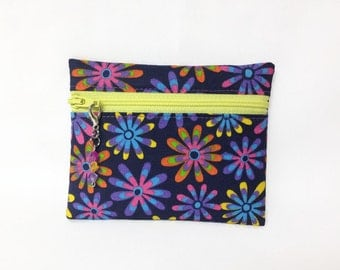 Retro Floral Print Small Coin Purse, Change Wallet, ID Holder, Zip Coin Pouch, Pink Purple Floral Print Card Wallet, Change Purse
