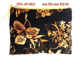 Floral Makeup Clutch, Black Tan Cosmetic Bag, Black Tan Floral Makeup Bag, Travel Cosmetic Bag