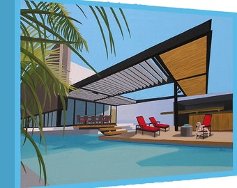 Canvas Print Mid Century Modern Eames Retro from Original Painting Soaring Roof Pool Retriever