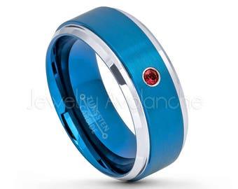 2 tone blue tungsten ring 007ct garnet ring january birthstone ring