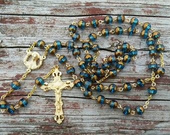 Catholic Rosary Beads Teal and Gold