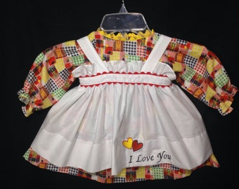 Dress and Apron for 30 INCH Raggedy Ann Doll;Red, Blue, Yellow and Green checked patchwork Dress,Embroidered Apron, doll clothes