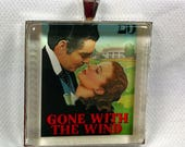 Gone with the Wind Rhett Butler Scarlett O'Hara Civil War Margaret Mitchell Vintage Postage Stamp Pendant or Key Ring