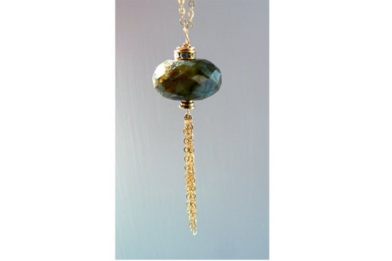 Labradorite gemstone tassel pendant- Gold filled Swarovski round labradorite necklace- Flashy blue stone pendant -Women jewelry gift
