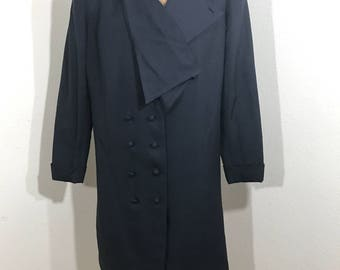 Vintage 1980s Asymmetrical Navy Blue Coat By Jaywein New York M/L