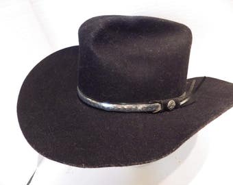 Vintage Western Express Black Cowboy Hat Wool Felt  7 1/8 USA