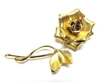Vintage Gold Tone Rose Pin