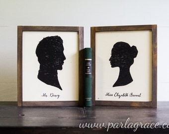 Mr. Darcy and Miss Elizabeth Bennet Silhouetts, Pride & Prejudice, Jane Austen, Storybook Collection, Library, Farmhouse Style, Framed Sign