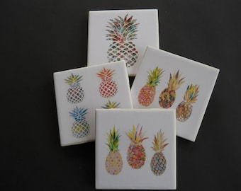 Pineapple Coasters ~ Home Decor ~ Summer Decor ~ Ceramic Tile Coasters ~ Bar Coasters ~ Drink Coasters ~ Housewarming Gift ~ Shower Gift