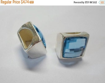 Half Round Swarovski Crystal Square Slider, Aquamarine and Antique Silver Finding 10x5mm