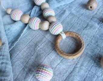 Collier d'allaitement et portage coton bio et bois français