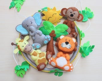 Baby mobile Jungle mobile Safari mobile neutral mobile African animals crib mobile elephant mobile safari Animals ornaments Jungle nursery