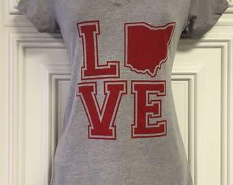 LOVE Ohio - Ladies V-Neck - Screen Printed