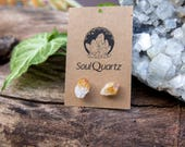 Citrine Raw Crystal Earring Studs