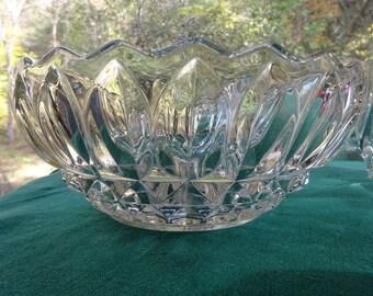 Crystal Bowl, Indiana Glass Crystal Bowl, Indiana Glass Cupped Bowl, Indiana Glass bowl