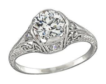 Edwardian GIA Certified 1.06ct Diamond Engagement Ring