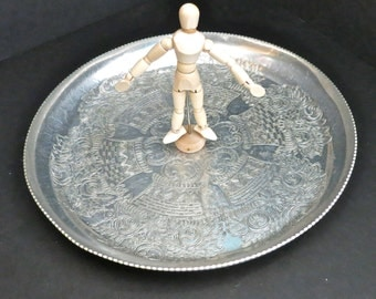 Vintage Hammered Round Aluminum Tray, Round Ornate Hand Wrought Aluminum Tray, Made in Brooklyn, New York, U.S.A. Wilson Specialties Co.Inc