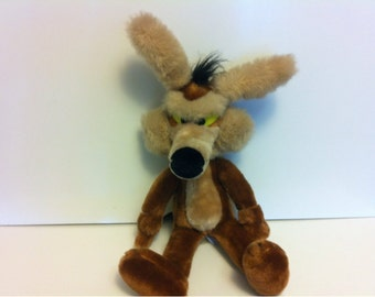 Vintage 1989 Wile. E. Coyote Baby Looney Tunes Plush Stuffed Toy by Warner Bros  / The Looney Tunes Show Plush / Bugs Bunny Character